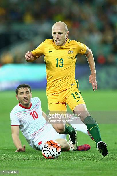 Aaron Mooy of Australia makes a break during the 2018 FIFA World Cup Qualification match between the Australia Socceroos and Tajikistan at the...