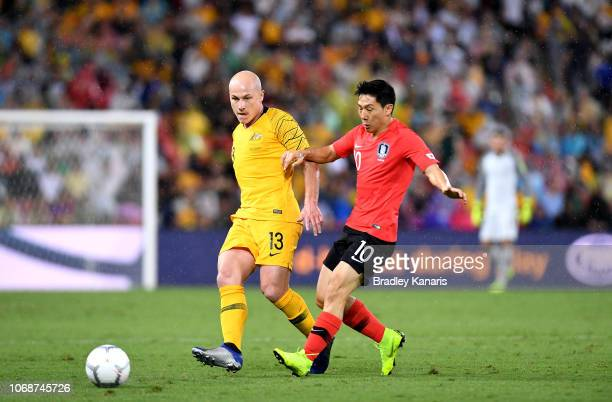 Aaron Mooy of Australia passes the ball during the international friendly match between the Australian Socceroos and Korea Republic at Suncorp...