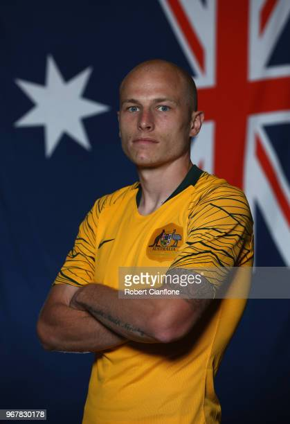 Aaron Mooy of Australia poses during the Australian Socceroos Portrait Session at the Gloria Serenity Resort on June 5 2018 in Antalya Turkey
