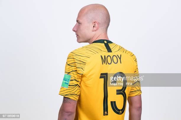 Aaron Mooy of Australia poses for a portrait during the official FIFA World Cup 2018 portrait session at Trudovyne Rezeny on June 11 2018 in Kazan...
