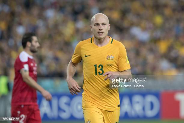 Aaron Mooy of Australia runs to take a corner during the 2018 FIFA World Cup Asian Playoff match between the Australian Socceroos and Syria at ANZ...