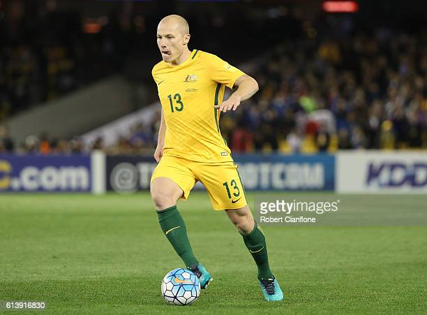 Aaron Mooy of Australia runs with the ball during the 2018 FIFA World Cup Qualifier match between the Australian Socceroos and Japan at Etihad...