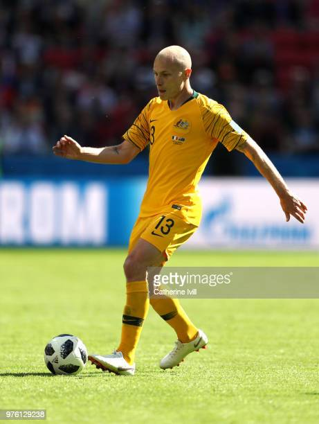 Aaron Mooy of Australia runs with the ball during the 2018 FIFA World Cup Russia group C match between France and Australia at Kazan Arena on June 16...