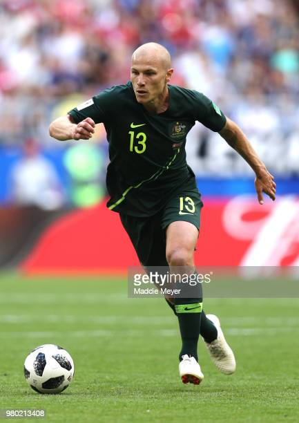Aaron Mooy of Australia runs with the ball during the 2018 FIFA World Cup Russia group C match between Denmark and Australia at Samara Arena on June...