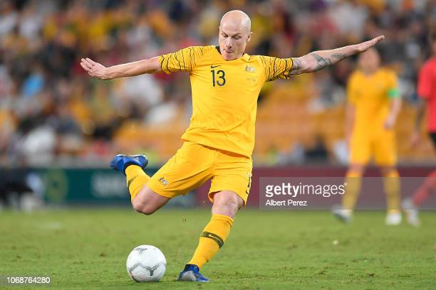 Aaron Mooy of Australia shoots on goal during the International Friendly match between the Australian Socceroos and Korea Republic at Suncorp Stadium...