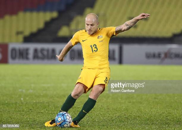 Aaron Mooy of Australia takes a free kick during the 2018 FIFA World Cup Asian Playoff match between Syria and the Australia Socceroos at Hang Jebat...