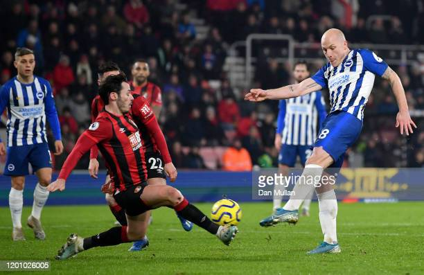 Aaron Mooy of Brighton and Hove Albion scores his team's first goal during the Premier League match between AFC Bournemouth and Brighton Hove Albion...