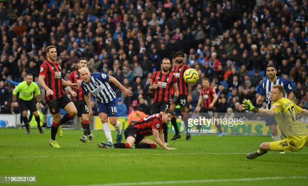 Aaron Mooy of Brighton Hove Albion scores his teams second goal during the Premier League match between Brighton Hove Albion and AFC Bournemouth at...