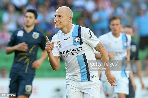 Aaron Mooy of City celebrates after scoring a goal during the round 20 ALeague match between Melbourne City FC and the Central Coast Mariners at AAMI...