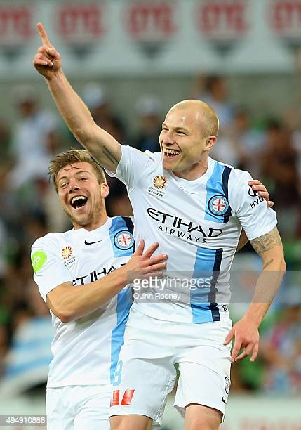 Aaron Mooy of City celebrates scoring a goal during the round four A-League match between Melbourne City FC and Newcastle Jets at AAMI Park on...
