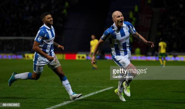 Aaron Mooy of Huddersfield scoring his teams second goal during the Sky Bet Championship match between Huddersfield Town and Norwich City at Galpharm...