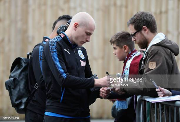Aaron Mooy of Huddersfield Town arrives at the stadium prior to the Premier League match between Burnley and Huddersfield Town at Turf Moor on...