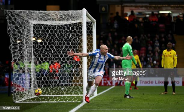 Aaron Mooy of Huddersfield Town celebrates after scores his sides second goal during the Premier League match between Watford and Huddersfield Town...
