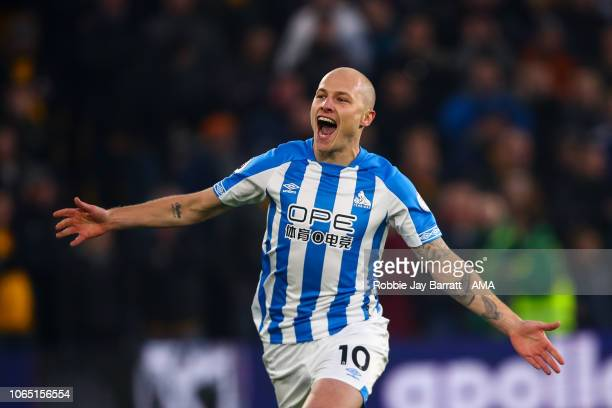Aaron Mooy of Huddersfield Town celebrates after scoring a goal to make it 01 during the Premier League match between Wolverhampton Wanderers and...