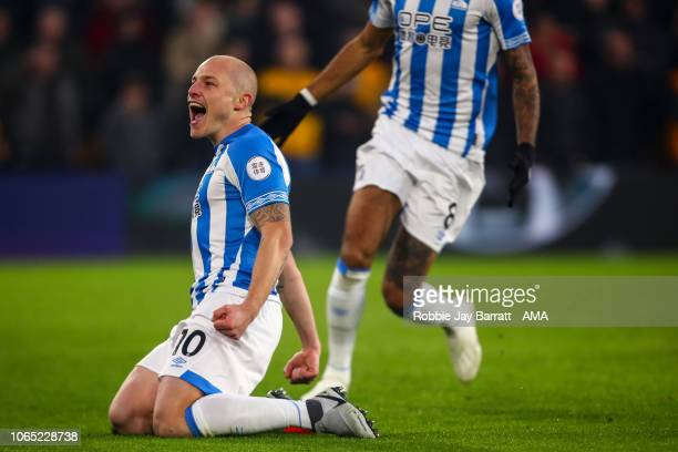 Aaron Mooy of Huddersfield Town celebrates after scoring a goal to make it 01during the Premier League match between Wolverhampton Wanderers and...