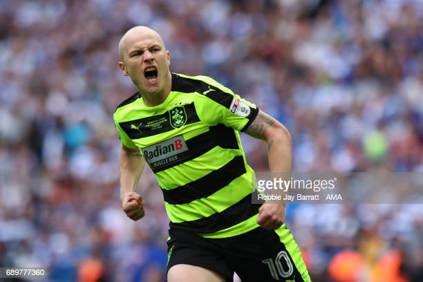 Aaron Mooy of Huddersfield Town celebrates after scoring his penalty during the Sky Bet Championship Play Off Final match between Reading and...