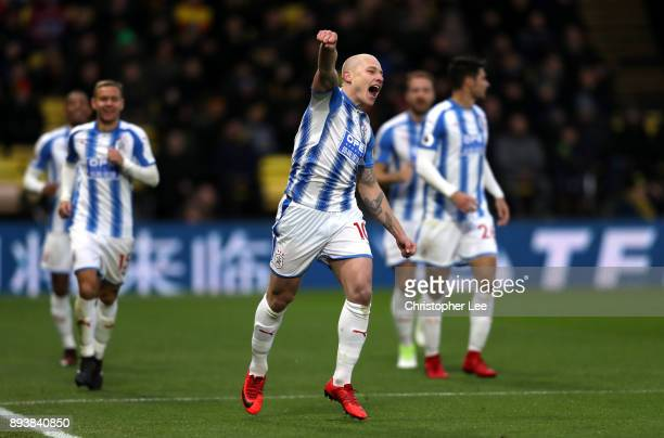 Aaron Mooy of Huddersfield Town celebrates after scoring his sides second goal during the Premier League match between Watford and Huddersfield Town...