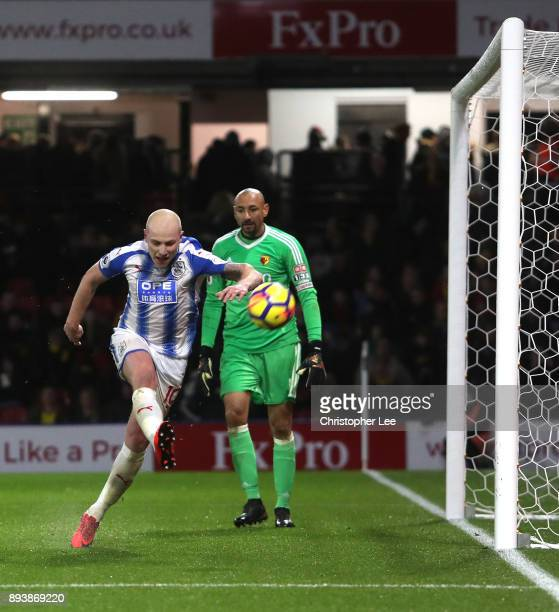 Aaron Mooy of Huddersfield Town celebrates after scoring his sides fourth goal during the Premier League match between Watford and Huddersfield Town...