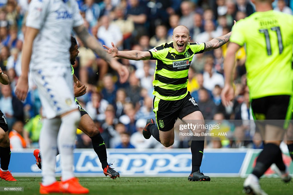 Aaron Mooy of Huddersfield Town celebrates after scoring to make it 0-1 during the Sky Bet Championship match between Leeds United and Huddersfield Town at Elland Road on September 10, 2016 in Leeds, England.