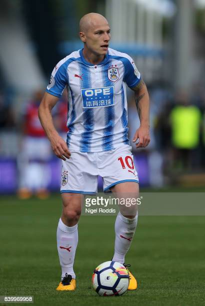 Aaron Mooy of Huddersfield Town during the Premier League match between Huddersfield Town and Southampton at Galpharm Stadium on August 26 2017 in...