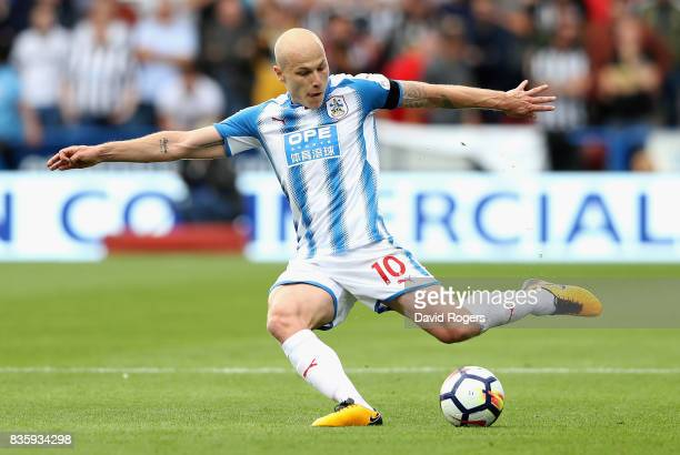 Aaron Mooy of Huddersfield Town passes the ball during the Premier League match between Huddersfield Town and Newcastle United at John Smith's...