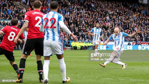 Aaron Mooy of Huddersfield Town scores a goal to make it 10 during the Premier League match between Huddersfield Town and Manchester United at John...