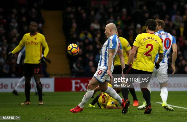 Aaron Mooy of Huddersfield Town scores his sides second goal during the Premier League match between Watford and Huddersfield Town at Vicarage Road...