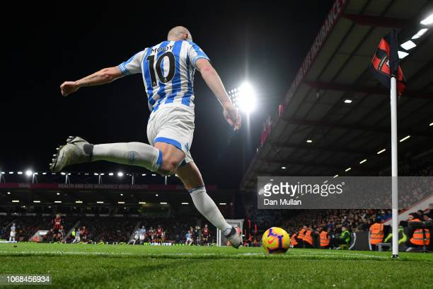 Aaron Mooy of Huddersfield Town takes a corner kick during the Premier League match between AFC Bournemouth and Huddersfield Town at Vitality Stadium...