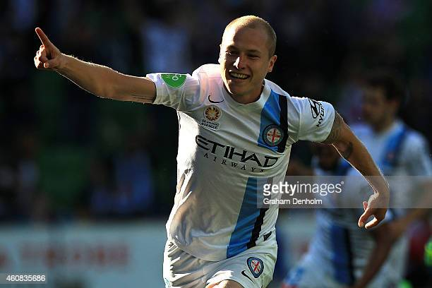 Aaron Mooy of Melbourne City celebrates his goal during the round 13 ALeague match between Melbourne City FC and Perth Glory at AAMI Park on December...