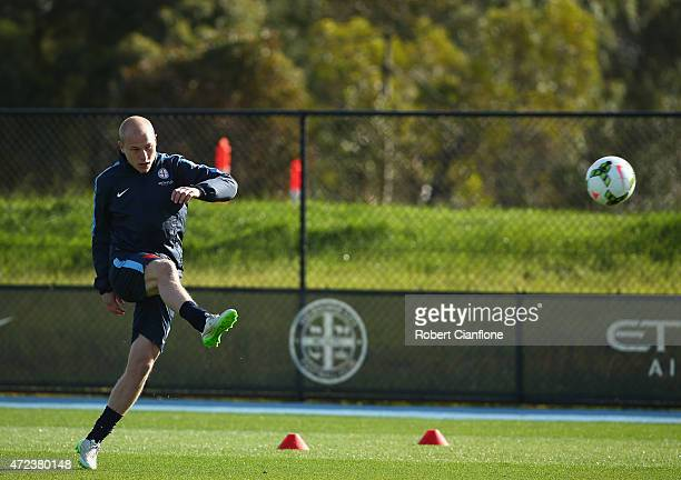 Aaron Mooy of Melbourne City kicks the ball during a Melbourne City FC ALeague training session at City Football Academy on May 7 2015 in Melbourne...