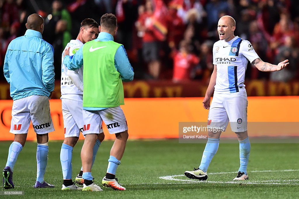 Aaron Mooy of Melbourne City looks dejected after the A-League Semi Final match between Adelaide United and Melbourne City at Coopers Stadium on April 22, 2016 in Adelaide, Australia.