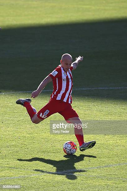 Aaron Mooy of Melbourne City shoots for goal during the round 18 ALeague match between the Newcastle Jets and Melbourne City FC at Hunter Stadium on...