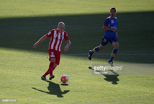 Aaron Mooy of Melbourne Victory controls the ball during the round 18 A-League match between the Newcastle Jets and Melbourne City FC at Hunter...