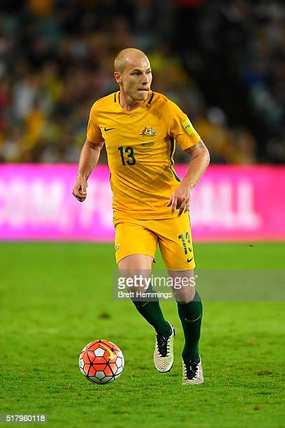 Aaron Mooy of the Socceroos controls the ball during the 2018 FIFA World Cup Qualification match between the Australian Socceroos and Jordan at...