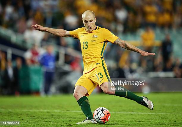 Aaron Mooy of the Socceroos kicks and scores a goal during the 2018 FIFA World Cup Qualification match between the Australian Socceroos and Jordan at...