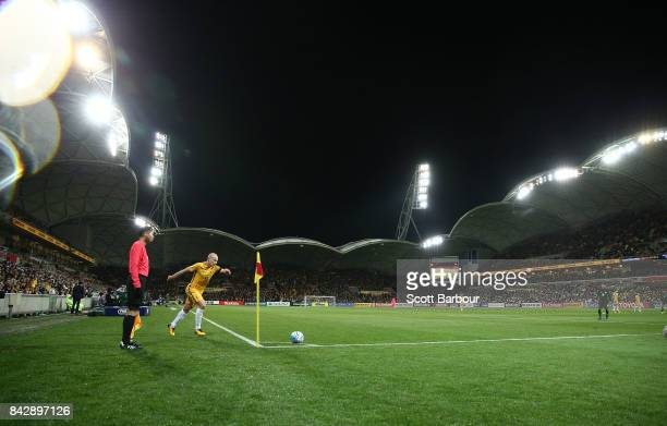 Aaron Mooy of the Socceroos takes a corner kick during the 2018 FIFA World Cup Qualifier match between the Australian Socceroos and Thailand at AAMI...