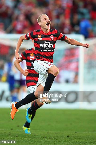 Aaron Mooy of the Wanderers celebrates after scoring a goal from a free kick during the round 16 ALeague match between the Western Sydney Wanderers...