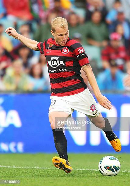 Aaron Mooy of the Wanderers shoots for goal and scores the opening goal during the round 22 ALeague match between the Western Sydney Wanderers and...