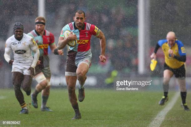 Aaron Morris of Harlequins breaks away to score a try during the Aviva Premiership match between Harlequins and Wasps at Twickenham Stoop on February...