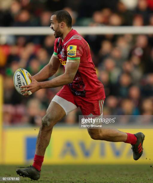 Aaron Morris of Harlequins during the Aviva Premiership match between Leicester Tigers and Harlequins at Welford Road on February 17 2018 in...
