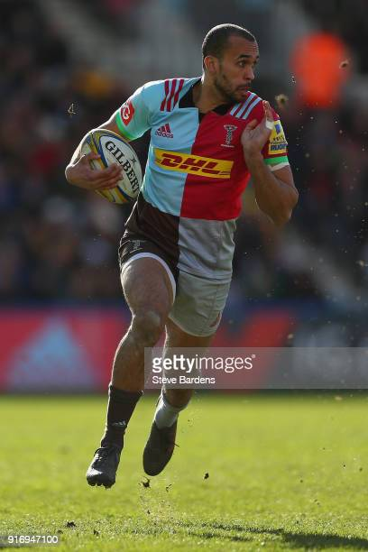 Aaron Morris of Harlequins in action during the Aviva Premiership match between Harlequins and Wasps at Twickenham Stoop on February 11 2018 in...