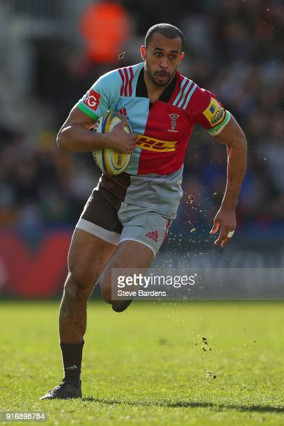 Aaron Morris of Harlequins makes a break during the Aviva Premiership match between Harlequins and Wasps at Twickenham Stoop on February 11 2018 in...