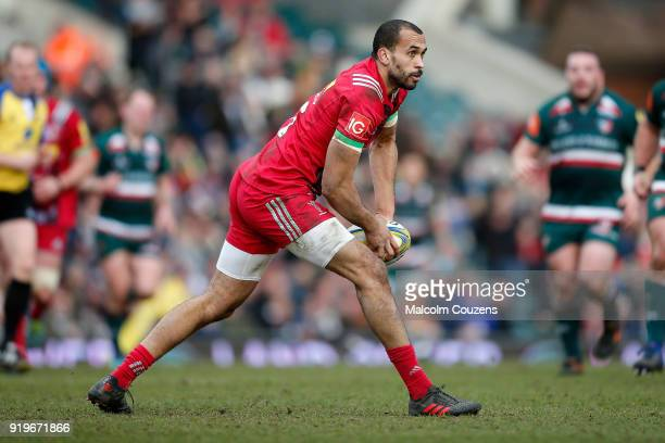 Aaron Morris of Harlequins passes the ball during the Aviva Premiership match between Leicester Tigers and Harlequins at Welford Road on February 17...