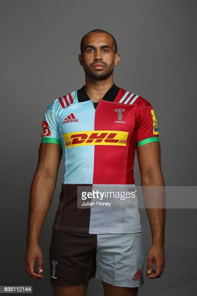 Aaron Morris of Quins poses for a portrait during the Harlequins photocall for the 20172018 Aviva Premiership Rugby season at The Stoop on August 18...