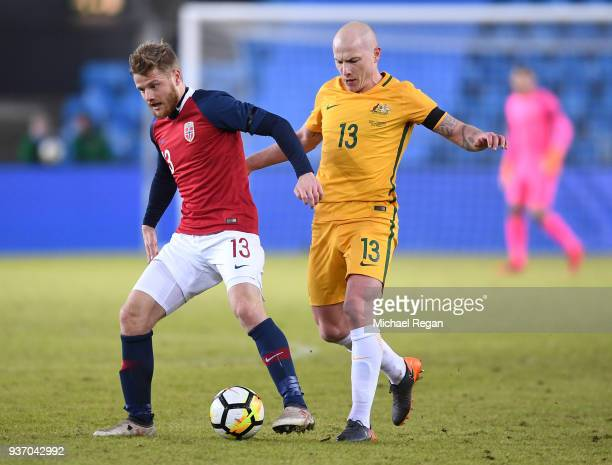Aaron Moy of Australia battles with Fredrik Midtsjo of Norway during the International Friendly match between Norway and Australia at Ullevaal...