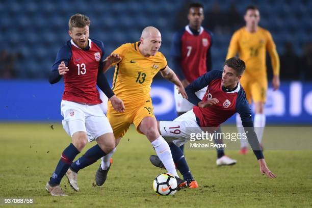 Aaron Moy of Australia in action with Fredrik Midtsjo of Norway and Markus Henriksen of Norway during the International Friendly match between Norway...