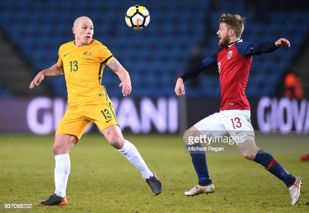 Aaron Moy of Australia in action with Fredrik Midtsjo of Norway during the International Friendly match between Norway and Australia at Ullevaal...