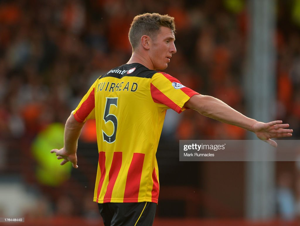 Aaron Muirhead of Partick Thistle in action during the Scottish Premiership League match between Partick Thistle and Dundee United at Firhill Stadium on August 02, 2013 in Glasgow, Scotland.