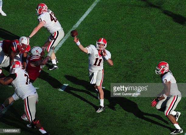 Aaron Murray of the Georgia Bulldogs passes against the Nebraska Cornhuskers during the Capital One Bowl at the Citrus Bowl on January 1 2013 in...