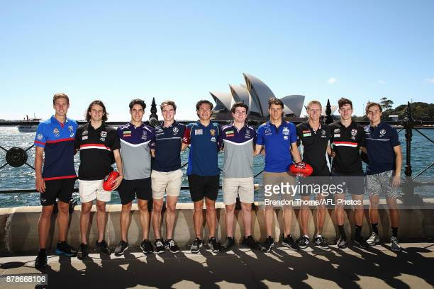 Aaron Naughton of the Bulldogs Hunter Clark of the Saints Adam Cerra of the Dockers Paddy Dow of the Blues Cameron Rayner of the Lions Andrew...